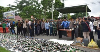 Awali Rangkaian Ops Lilin Mahakam 2019, Polres Kutim Musnahkan 2.260 Botol Miras