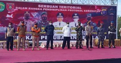 Aksi Serbuan Teritorial, Kodim 0909/SGT Maksimalkan Penegakan Prokes dan Penanganan Dampak Sosial COVID-19